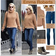 Celeb Style:  Emma Roberts by zhris on Polyvore featuring moda, Frame Denim, Chloé, Proenza Schouler and Ray-Ban