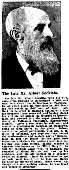 Mr Albert Reckitts - formerly of Tallegalla Plantation Maryborough District - Sugar Grower circa 1905 (Australian Town and Country Journal - Trove)