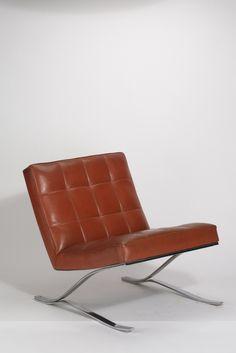 Rudolf Horn; Chromed Metal and Leather Chair for Röhl Potsdam, 1965.