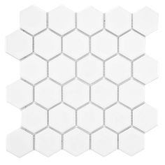 SomerTile Victorian Hex Glossy White Porcelain Mosaic Tiles (Case of 10)