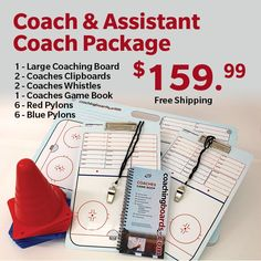 1 Large Coaching Board, 2 Clipboards, 2 Whistles, 1 Hockey Game Book, 12 Practice Pylons #hockey #coach