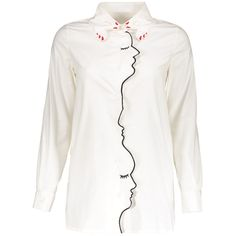Embroidery Shirt Collar Figure Pattern Shirt ($22) ❤ liked on Polyvore featuring tops, white patterned shirt, patterned collared shirts, white collar top, embroidery shirts and print top