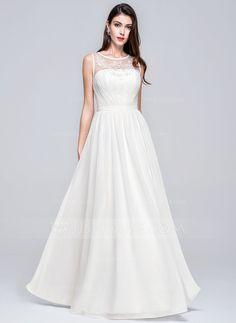 A-Line/Princess Scoop Neck Floor-Length Chiffon Wedding Dress With Ruffle Beading Appliques Lace Sequins (002076126)