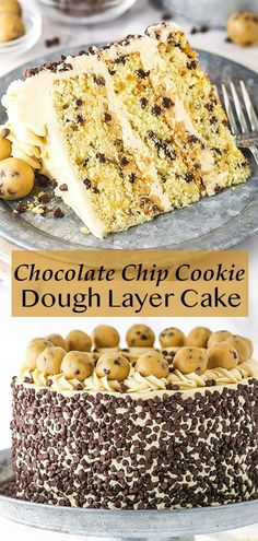 Cookie dough lovers, hold onto your hats! This dreamy Chocolate Chip Cookie Dough Cake is layered with edible cookie dough and a creamy chocolate chip cookie dough frosting! Chocolate Chip Cookie Dough Cake Recipe, Cookie Dough Desserts, Cookie Dough Frosting, Chocolate Chip Frosting, Cookie Dough Cupcakes, Easy Chocolate Chip Cookies, Edible Cookie Dough, Chocolate Cakes, Cake Cookies