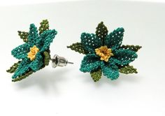 silk needle earrings blue clours handmade fixed by guldemirdinc, $25.00