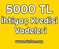 Bankaların5000TL İhtiyaç Kredisi Vadeleri bu yazımızda ulaşabilirsiniz. 12 Ay Vadeli 5000 TL İhtiyaç Kredisi ING Bank: %0,99 aylık faiz oranı ile 12 ay va