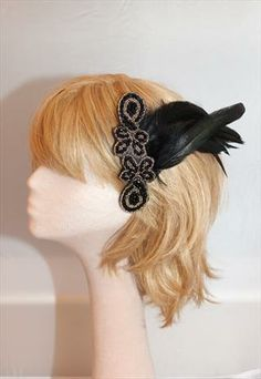 Handmade Feathered Headpiece hair comb 1920s great gatsby
