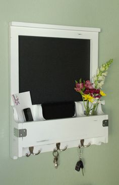 Distressed Entry Wall Organizer - Chalkboard, Mail, Phone, Key Hooks, Mirror, Corkboard - All Wood, Chic, Modern hall way Chalk Board Decor
