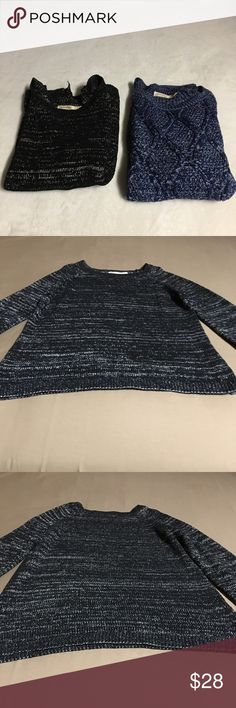2- Faded Glory Women's Sweaters Size 16-18 Two sweaters One black and silver color the other one is dark blue  Both in very good condition Length-26 Armpit to armpit-20.5 Faded Glory Sweaters
