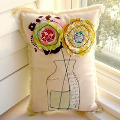 Flower Pillow, Soft Sculpture, Appliqued Pillow, Novelty Pillow, Flower Vase Pillow, Stitched Flower Pillow, Happy Bloom - No. 84. $19.00, via Etsy.