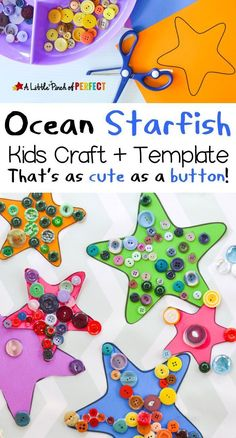 Starfish Ocean Craft for kids as cute as a button: Free Template (Sea … - Crafts for adult Daycare Crafts, Toddler Crafts, Preschool Crafts, Toddler Activities, Summer Activities, Kid Crafts, Preschool Ocean Activities, Beach Theme Preschool, Button Crafts For Kids
