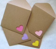 Pastel Mini Note Cards with Kraft Envelopes- what a cute idea to punch out the envelope