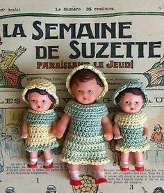 Petite poupée ARI habillée en crochet. Vintage West Germany doll 1950