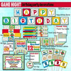 Game Night Decorations- Printable Board Game Birthday Party Decorations PDF/JPEG- As Seen on Hostess with the Mostess. $26.99, via Etsy.