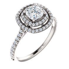 14K White 5x5mm Cushion Shape DIamond with Double Halo Engagement Ring Mounting   #EnchantedJewelry #DanielsonCT http://enchantedjewelryct.jewelershowcase.com/products/build/121992/3660392/?groupId=113568&recommendationSource=SearchRedirect#/review
