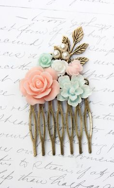 Floral Comb Wedding Flower Collage Coral Pink