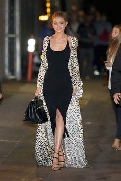 Gigi Hadid wore a Roberto Cavalli coat. New York - November 9 2016