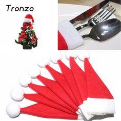 Tronzo 10 unids/lote Cubiertos Holder Mini Árbol De Navidad de Navidad de Santa Claus Sombrero de Navidad Decoración Para El Hogar Navidad Nuevo 6*12 CM