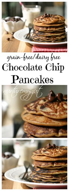 Made with coconut flour and dairy free chocolate chips. Form these delicious pancakes into hearts for Valentine's Day! Dairy Free Chocolate Chips, Chocolate Chip Pancakes, Coconut Chocolate, Tasty Pancakes, Pancakes And Waffles, Coconut Pancakes, Paleo Dairy, Gluten Free Breakfasts, Dairy Free Recipes