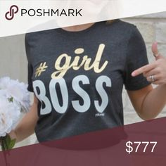 ❤️COMING SOON❤️ Like to be notified- Show everyone who's BOSS with our new #GirlBoss shirt. Girl is imprinted in gold foil. It's perfect for all the bosses in your life...or YOU!  Unisex cut runs true to size to a bit large. Tops Tees - Short Sleeve