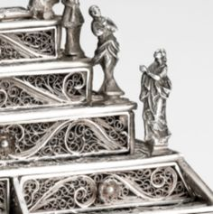 Detail of Miniature Silver Filigree Bureau by Johannes Muller at the Art Museum, Bergen.