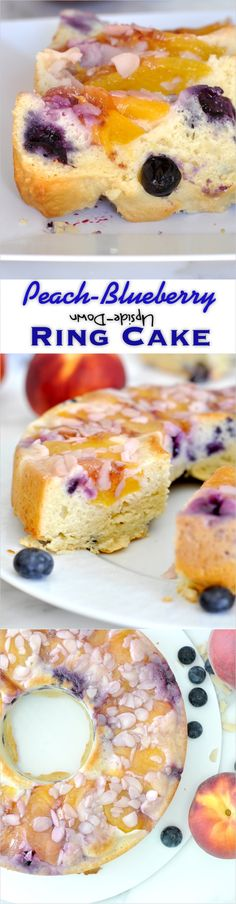 Wholesome, moist and soft cake filled with fresh blueberries and juicy peach slices