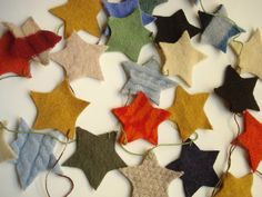~ felted wool star garland ~ upcycled sweaters ~ wash in hot water ~ dry ~ cut ~ string ~