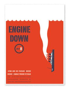 Engine DownShow poster for a 2002 Engine Down performance. 2 color. 18 x 24 in.