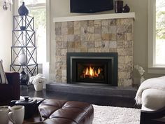 Learn more about the Liberty - High Efficient Gas Insert among the fireplace products at Hearth and Home Calgary. Modern Gas Fireplace Inserts, Small Gas Fireplace, Vent Free Gas Fireplace, Fireplace Stores, Home Fireplace, Wood Logs, Gas Logs, Gas Log Insert, Hearth And Home