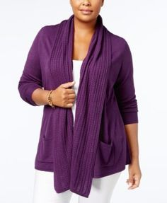 Karen Scott Plus Size Luxsoft Cable-Knit Open-Front Cardigan, Created for Macy's - Peppercorn 0X