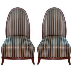 Pair French Art Deco Mahogany Chairs circa 1940