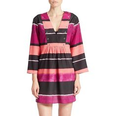 Ivanka Trump Striped Swim Cover Up (747.685 IDR) ❤ liked on Polyvore featuring swimwear, cover-ups, purple, beach cover up, striped swimwear, crochet cover-up, swim cover up and cover up swimwear