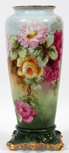 """Tressemann & Vogt, Limoges Porcelain (France) — Vase with Stand. H:16 1/2"""", 1862-1907 (494x1100)"""