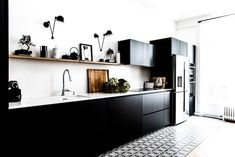 You may have the Scandinavian Kitchen cabinets design ideas for your home. With that design, Scandinavian Kitchen Cabinets, Black Kitchen Cabinets, Kitchen Cabinet Design, Black Kitchens, Home Kitchens, Kitchen Black, Kitchen Layout, Home Interior, Kitchen Interior