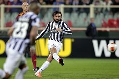 Andrea Pirlo of Juventus FC scores the opening goal during the UEFA Europa League Round of 16 second leg match between ACF Fiorentina and Ju...