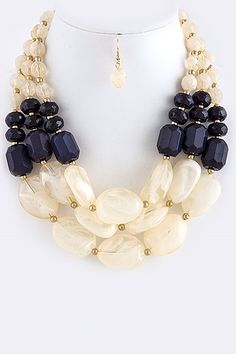 Reese Cream/Midnight Blue Stone Wrap Necklace