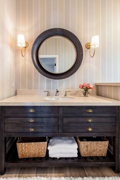 The bathroom vanity is from Restoration Hardware. The designed used the sink that came with and added a crema marble slab countertop. White Vanity Bathroom, Bathroom Vanity Lighting, Small Bathroom, Bathroom Vanities, Bathroom Renos, Bathroom Furniture, Washroom, Bathroom Cabinets, Dream Bathrooms
