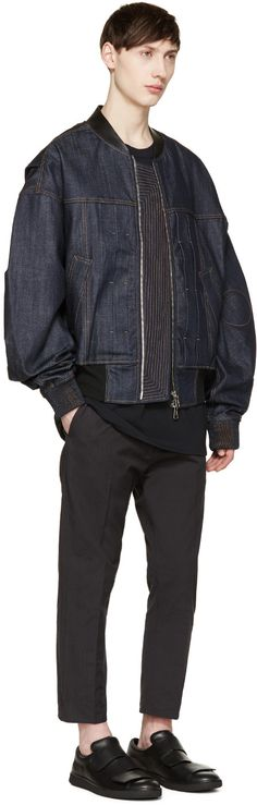 Juun.J Indigo Denim Bomber Jacket