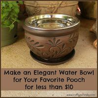 Need a huge planter for this -- Elegant DIY Dog Bowl Elevated Dog Bowls, Raised Dog Bowls, Raised Dog Feeder, Dog Water Bowls, Dog Yard, Dog Rooms, Puppy Care, Pet Care, Outdoor Dog