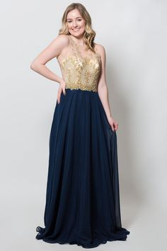Good Goddess Dress- Navy/Nude/Gold