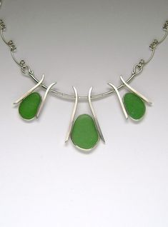 Sea Glass Jewelry Sterling Green Sea Glass by SignetureLine, $195.00