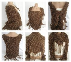 Hand knitted chocolate brown magic shawl $55.00