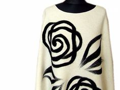 Poncho with felted pattern dry felt white cream by bluetwinkie1, $67.00