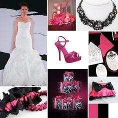 Black and pink wedding details