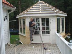 Lysthuset - skritt for skritt Garden Buildings, Gazebo, Waterfall, Shed, Outdoor Structures, Landscape, Landscaping Ideas, Outdoor Decor, Garden Ideas