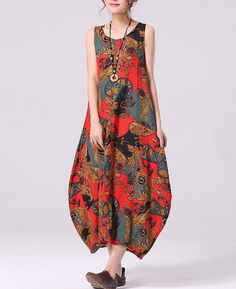 3-color Loose fitting Maxi dress Linen dress Cotton skirt Sleeveless Printing skirt Lantern skirt for Women C243