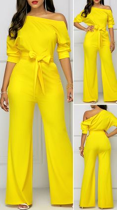 Half Sleeve Skew Neck Belted Yellow Jumpsuit HOT SALES jumpsuit elegant, classy jumpsuits, jumpsuit outfit dressy, spring style … in 2020 Chic Outfits, Fashion Outfits, Style Fashion, Spring Fashion, Cheap Fashion, Fashion Women, Yellow Jumpsuit, Latest African Fashion Dresses, Jumpsuit Outfit