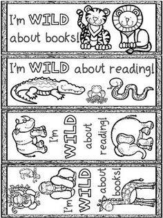 Wild about School - bookmarks, coloring pages, and postcards. Fun for kindergarten - 8th grade classrooms.