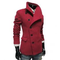 Red 2016 Trends Mens Fitted Thicken Blazer Lapel Coat Outerwear Jacket Shirts