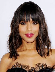 Kerry Washington long bob and bangs love her in SCANDAL!